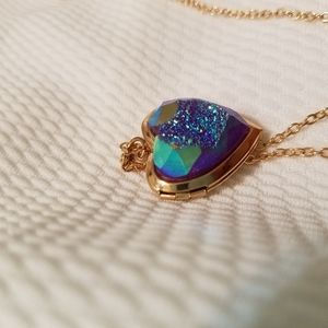 Rainbow geode locket necklace.